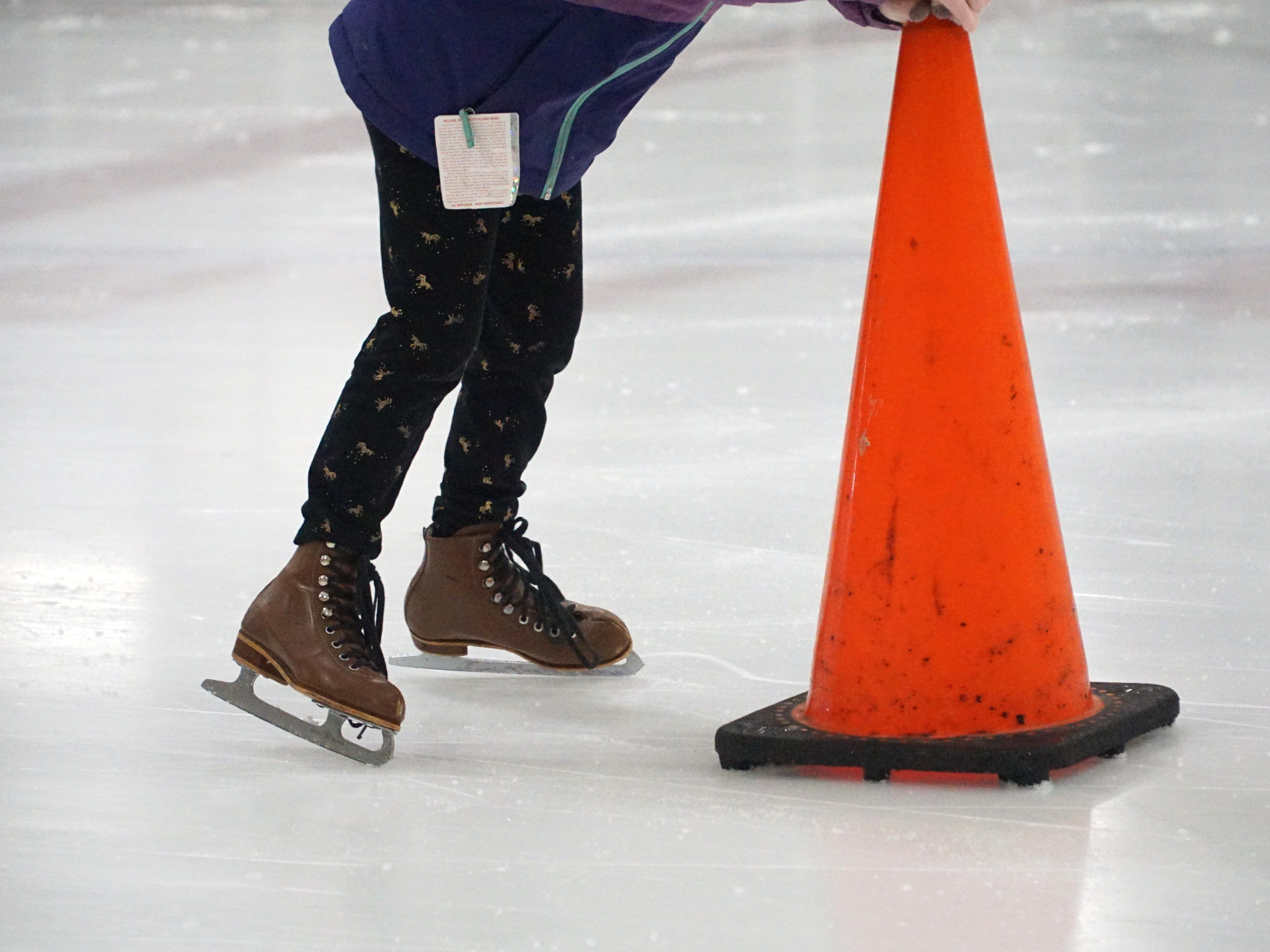 Novice skaters used traffic cones to navigate their way around at the Birmingham Ice Arena on Feb. 22.