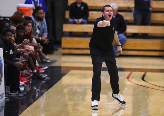 Palm Springs head coach Chris Howard shouts instructions during Palm Springs loss to Capistrano Valley Christian, February 23, 2019.