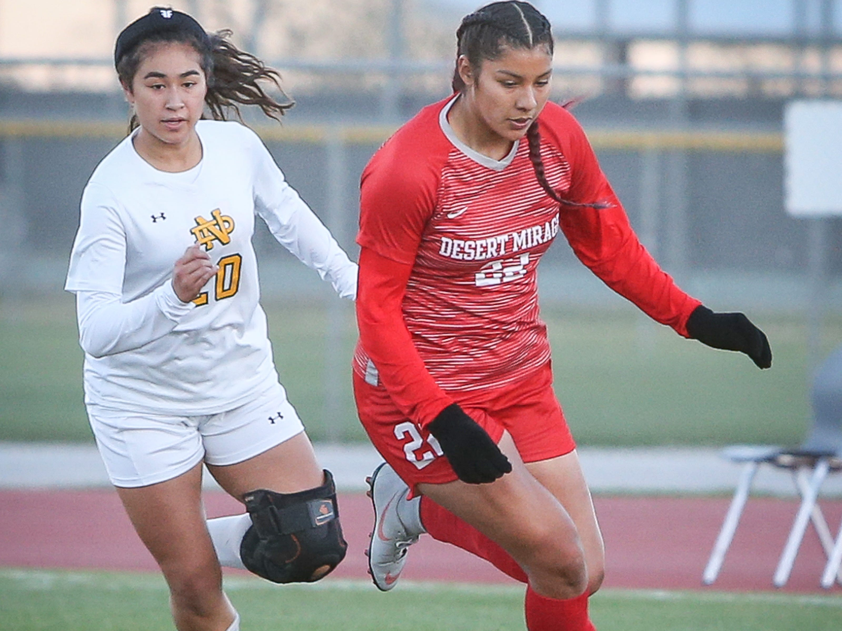 Andrea Lopez dribbling the ball for Desert Mirage. The Desert Mirage varsity soccer team won its first girls' soccer CIF title 1-0 against Notre Dame in overtime.