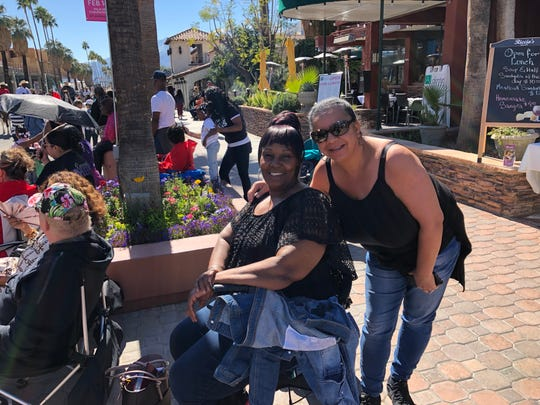 Fenita Kirkwood, a Palm Springs native, enjoys the annual Black History Month Parade and festival in downtown Palm Springs with her cousin, Michelle Thigpen.