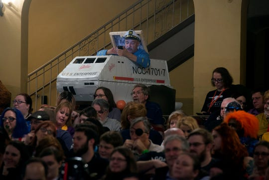 The crowd listens to television star William Shatner speak at the Saenger Theatre during Pensacon Saturday, February 23, 2019.