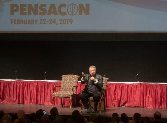 Television star William Shatner speaks to the crowd at the Saenger Theatre during Pensacon Saturday, February 23, 2019.