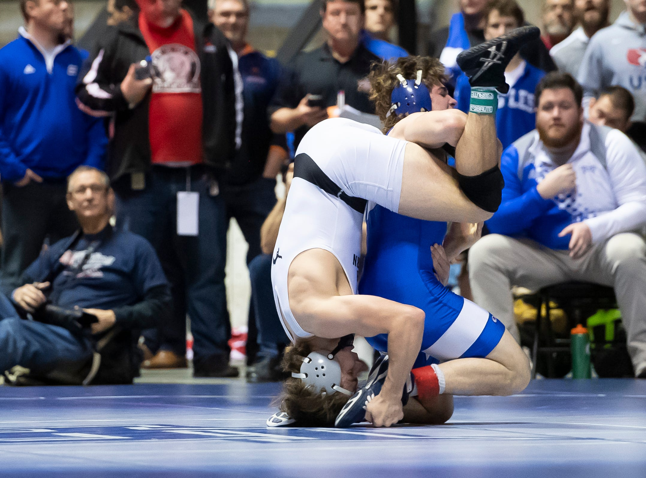 South Western's Ethan Baney, left, wrestles Lower Dauphin's Clayton Ulrey during a 160-pound semifinal bout at the District 3 wrestling championships at Hersheypark Arena Saturday, February 23, 2019. Ulrey won by major decision 17-7.