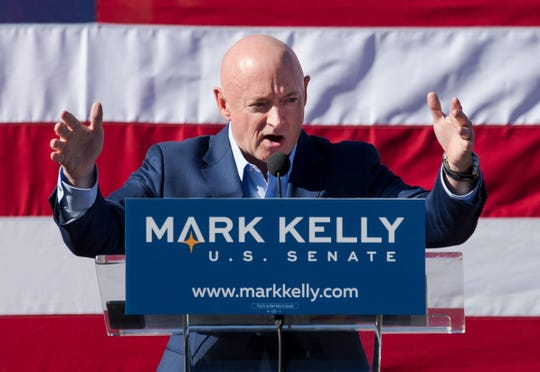 Mark Kelly speaks during his U.S. Senate campaign kickoff event at Hotel Congress, Feb. 23, 2019, in Tucson, Ariz.