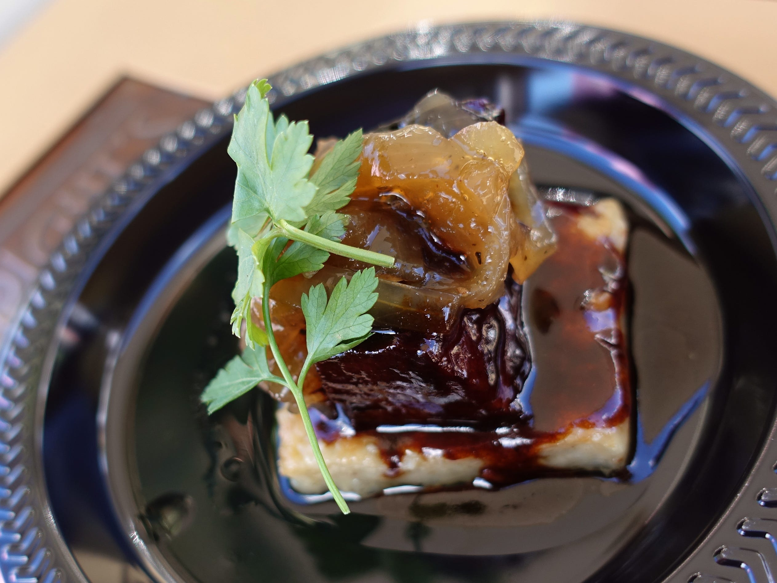 Braised short rib with Parmigiano potatoes, red wine and horseradish-bleu cheese crumble from Wright's at The Biltmore at the 2019 Devour Culinary Classic at the Desert Botanical Garden in Phoenix.