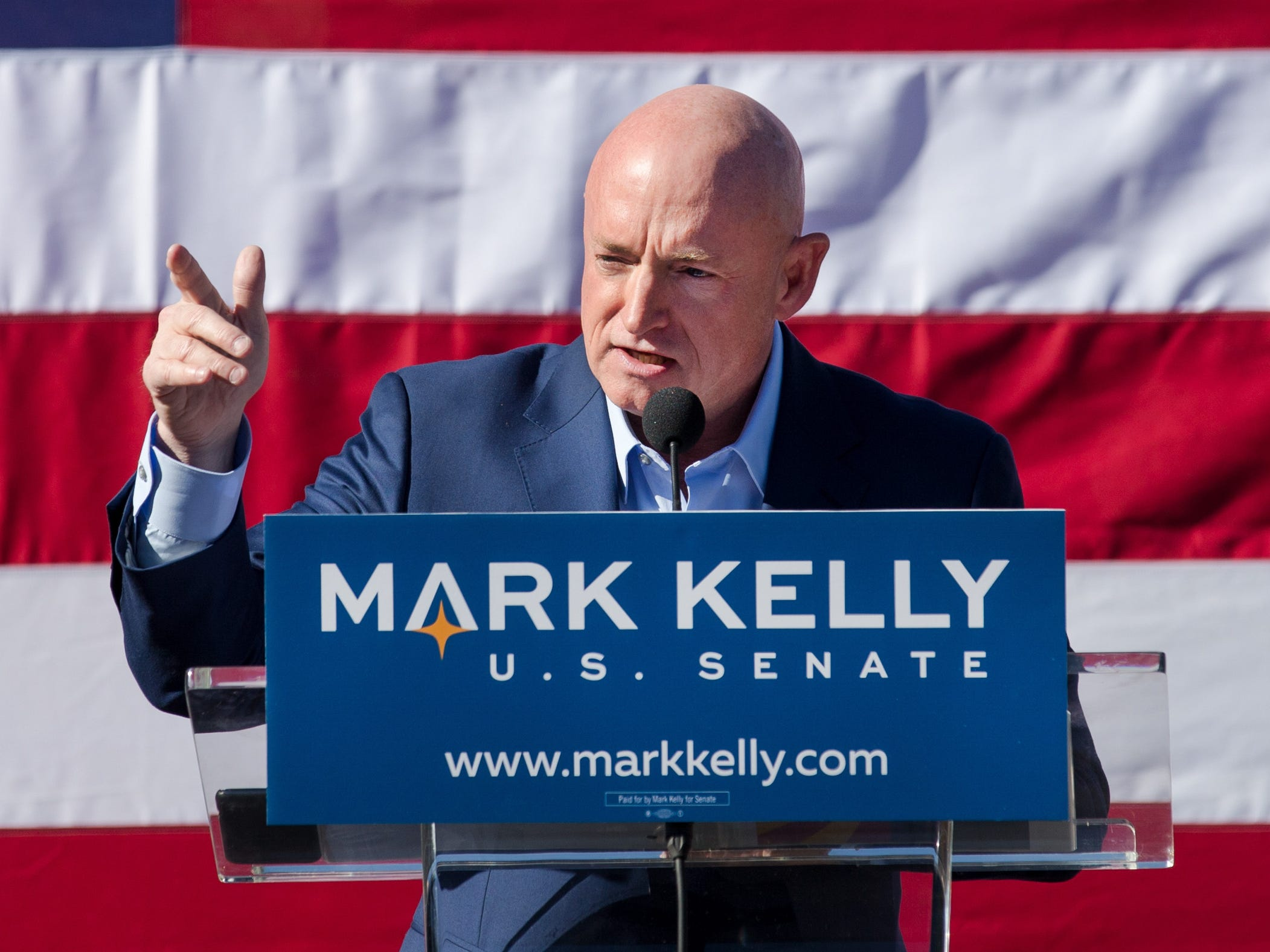 Mark Kelly speaks during his U.S. Senate campaign kickoff event at Hotel Congress, Feb. 23, 2019, in Tucson, Ariz. The former astronaut is the husband of former congresswoman Gabrielle Giffords.