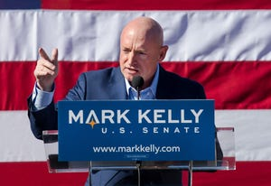 Mark Kelly speaks during his U.S. Senate campaign kickoff event at Hotel Congress, Feb. 23, 2019, in Tucson. The former astronaut is the husband of former Congresswoman Gabrielle Giffords.