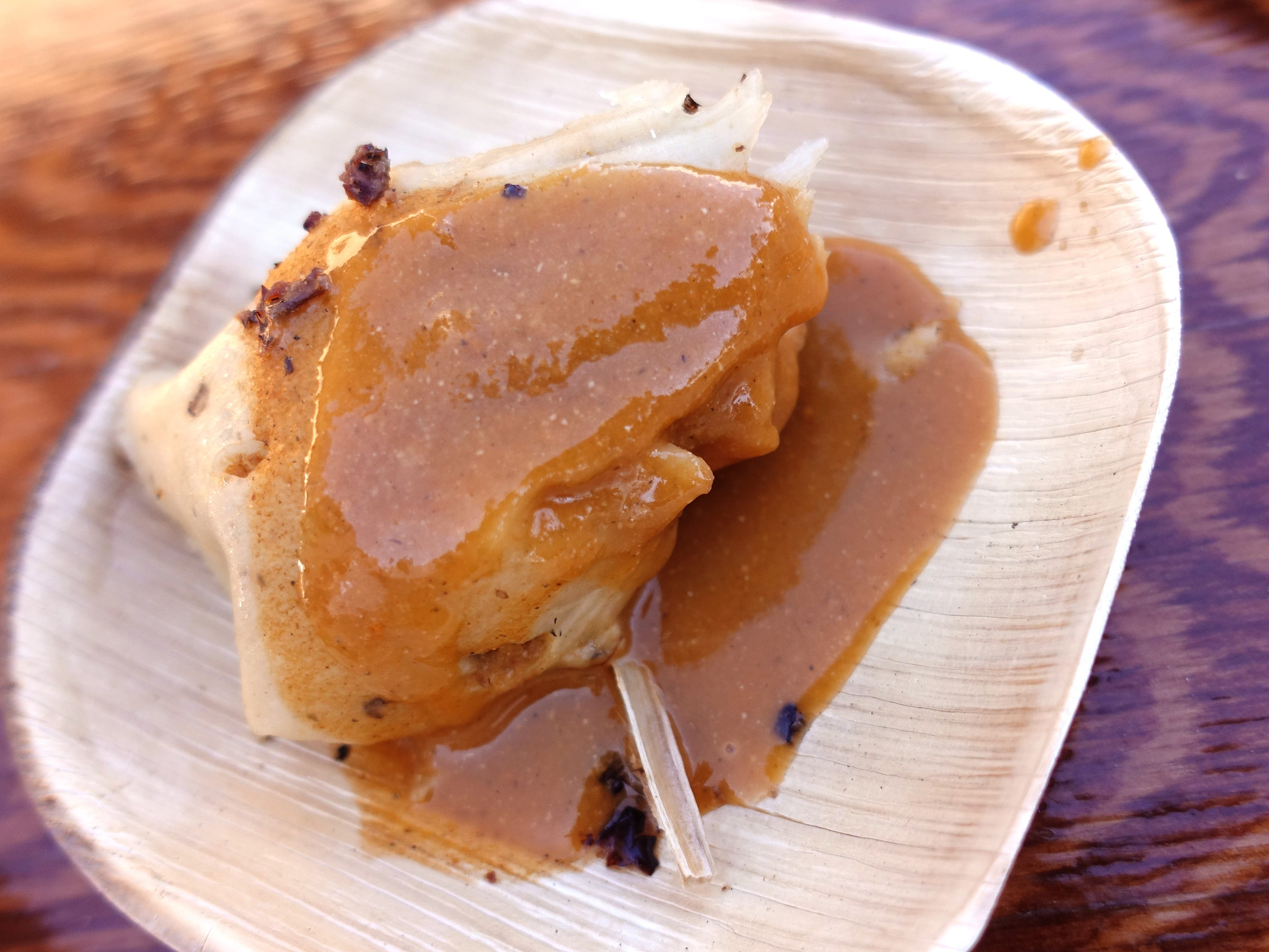 Rabbit tamal with mole amarillo from Barrio Cafe Gran Reserva at the 2019 Devour Culinary Classic at the Desert Botanical Garden in Phoenix.