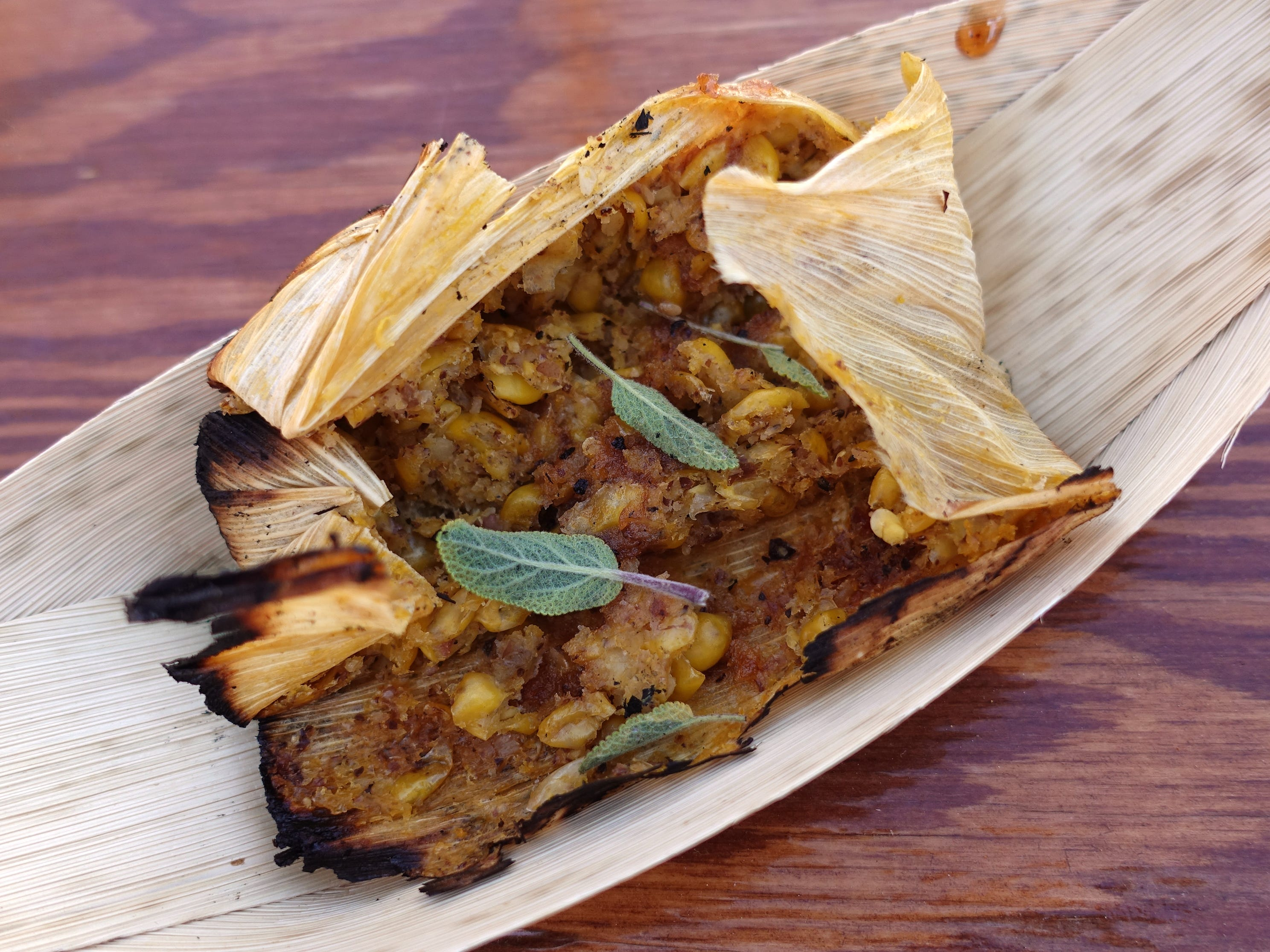Fresh corn tamal from Cotton & Copper at the 2019 Devour Culinary Classic at the Desert Botanical Garden in Phoenix.