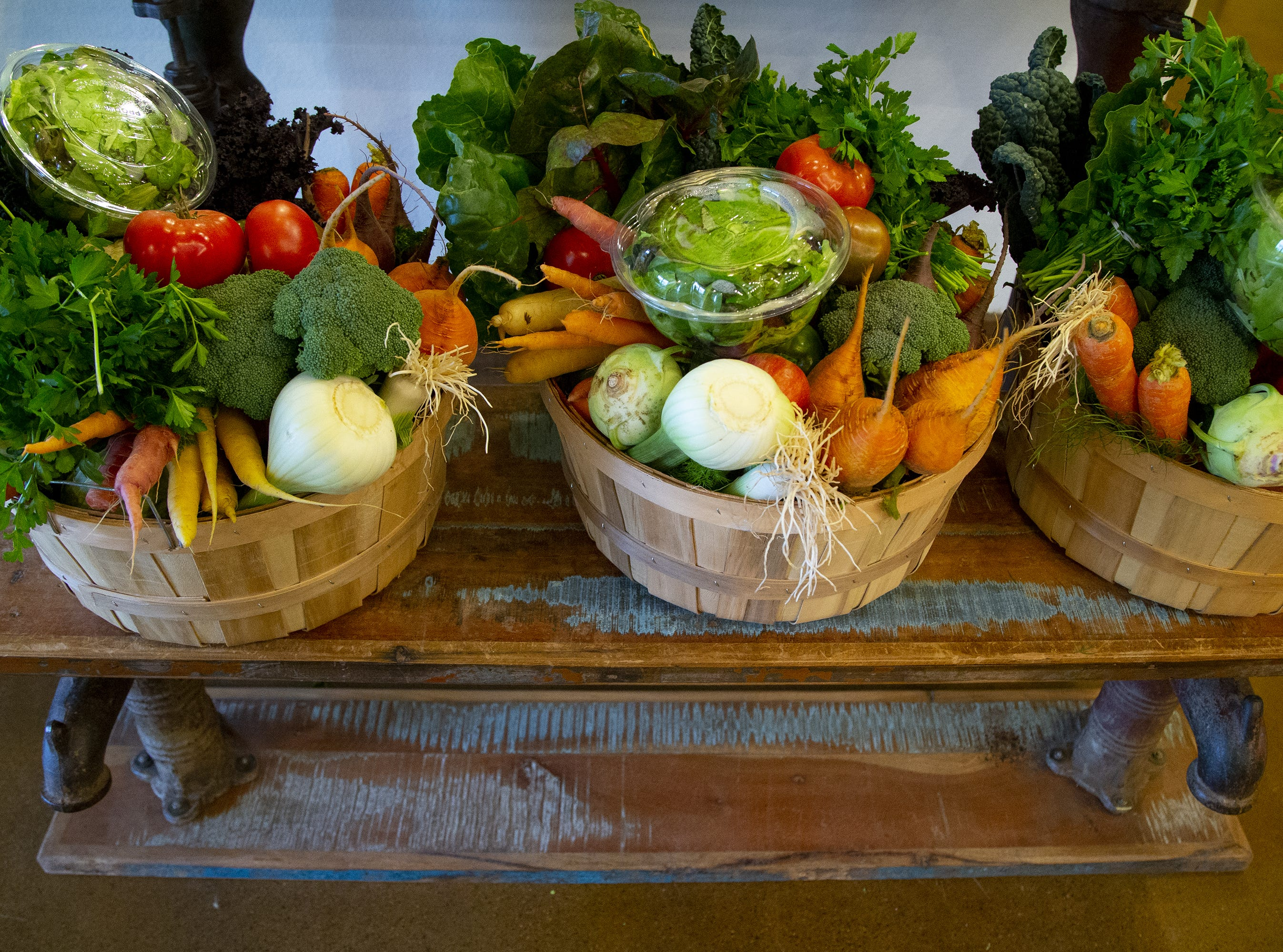 Vegetable baskets from Singh Meadows market in Tempe.