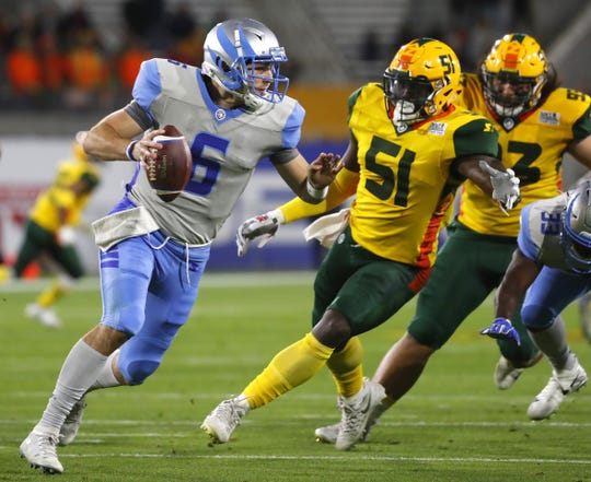 Stallions quarterback Josh Woodrum, seen during a Feb. 10 game against the Hotshots, completed 22 of his 31 passes for 178 yards against Arizona on Feb. 23.