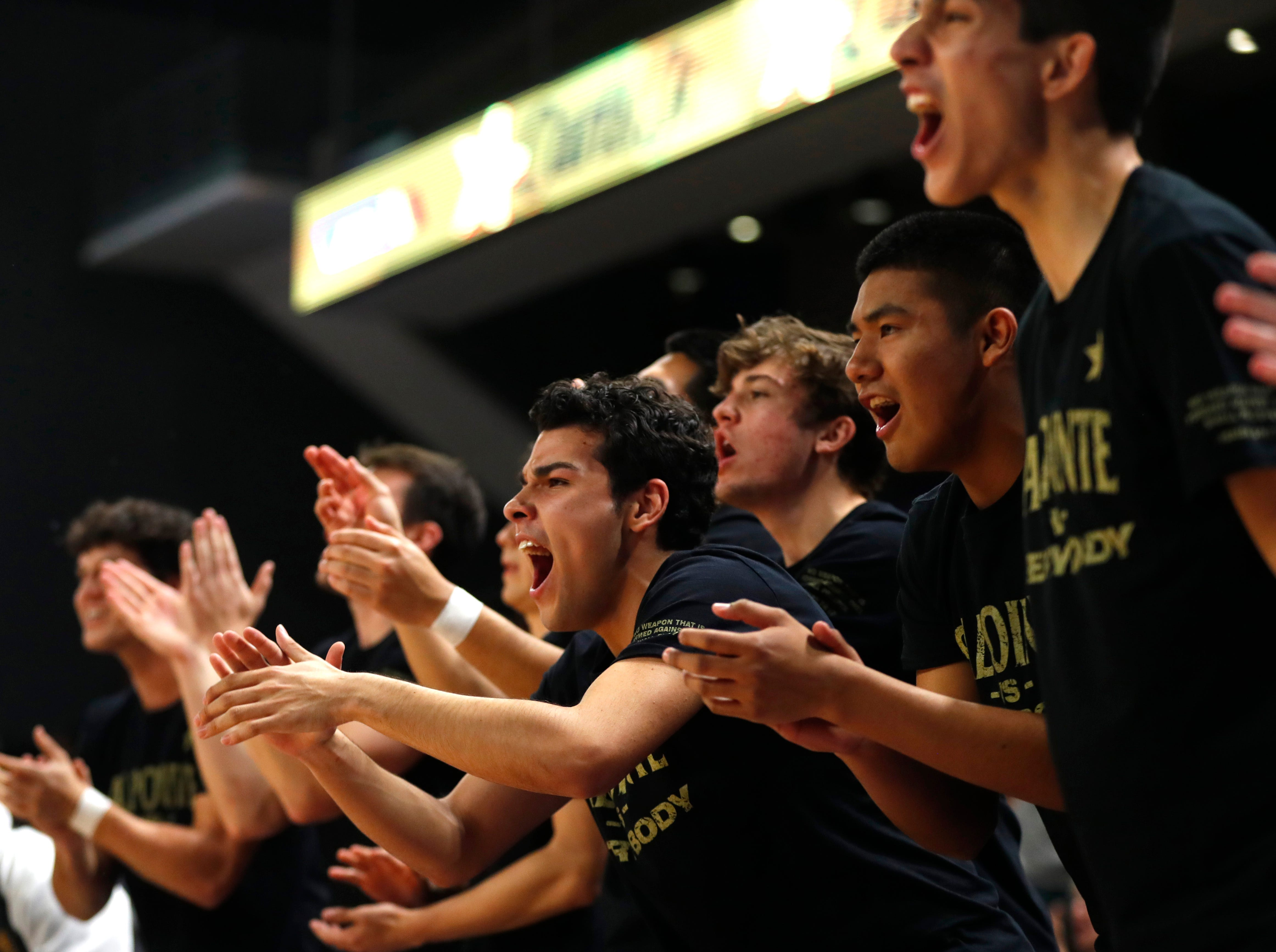 Salpointe Catholic's bench reacts after a Shadow Mountain turnover during first half of the 4A boys basketball semifinal game at Grand Canyon University Arena in Phoenix, Ariz. on February 22, 2019.