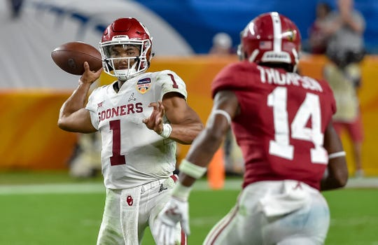 Oklahoma quarterback Kyler Murray looks to pass during a College Football Playoff semifinal game against Alabama.