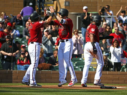 Where will David Peralta (left) and Steven Souza Jr. (middle) hit in the Diamondbacks' lineup this season?