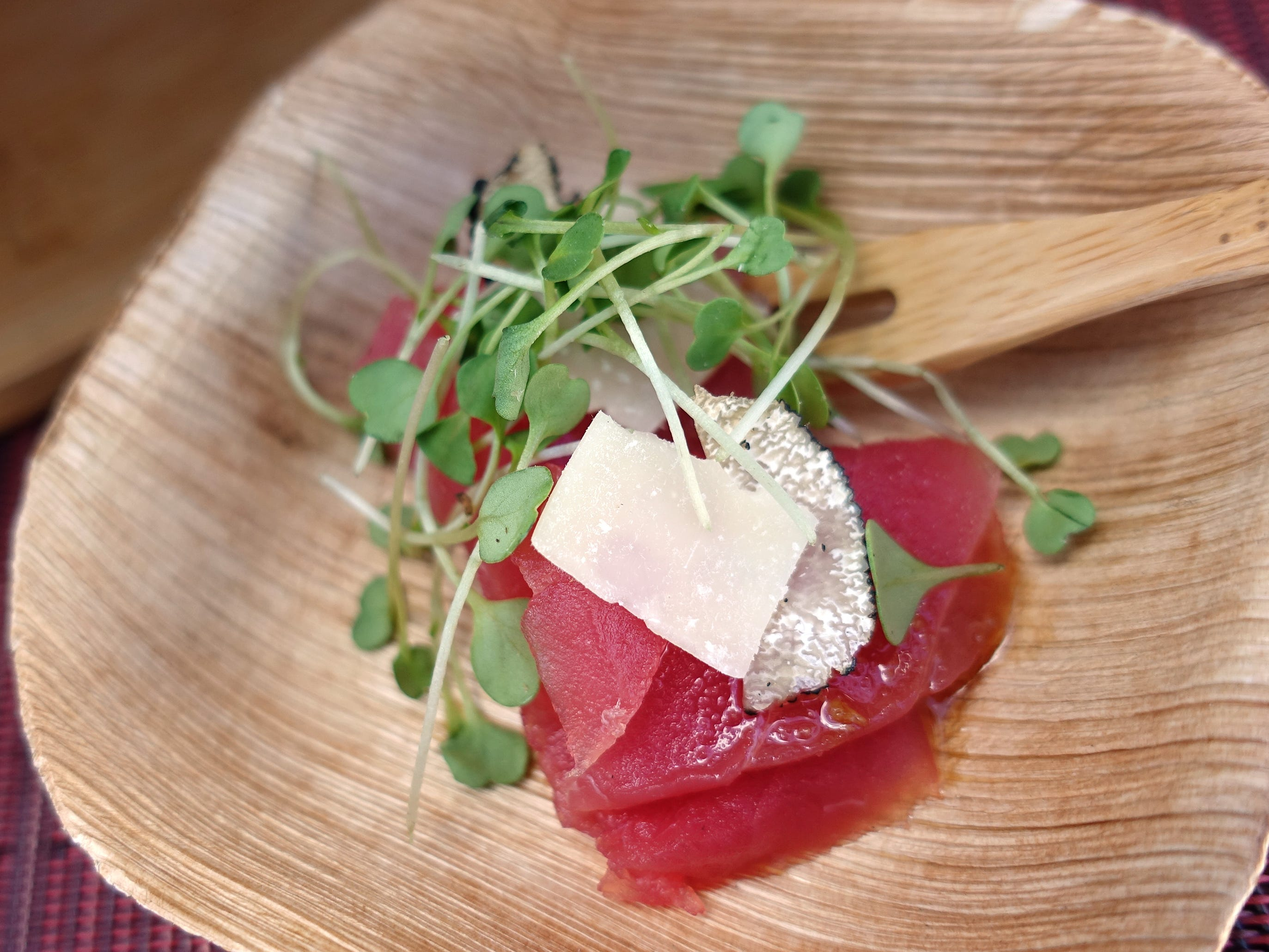 Truffled tuna carpaccio with wasabi truffle soy, Parmesan and micro arugula from Sushi Roku at the 2019 Devour Culinary Classic at the Desert Botanical Garden in Phoenix.
