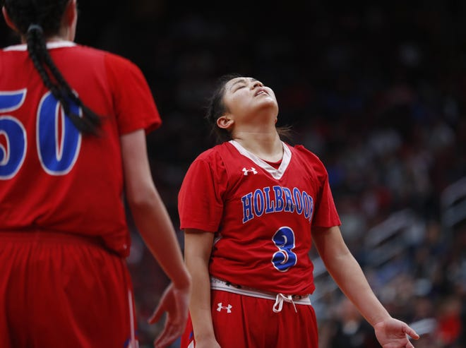 Holbrook's Tristen Ambrose (3) reacts after missing a free throw against Page during the second half of the 3A girls basketball state championship at Gila River Arena in Glendale, Ariz. on February 23, 2019.