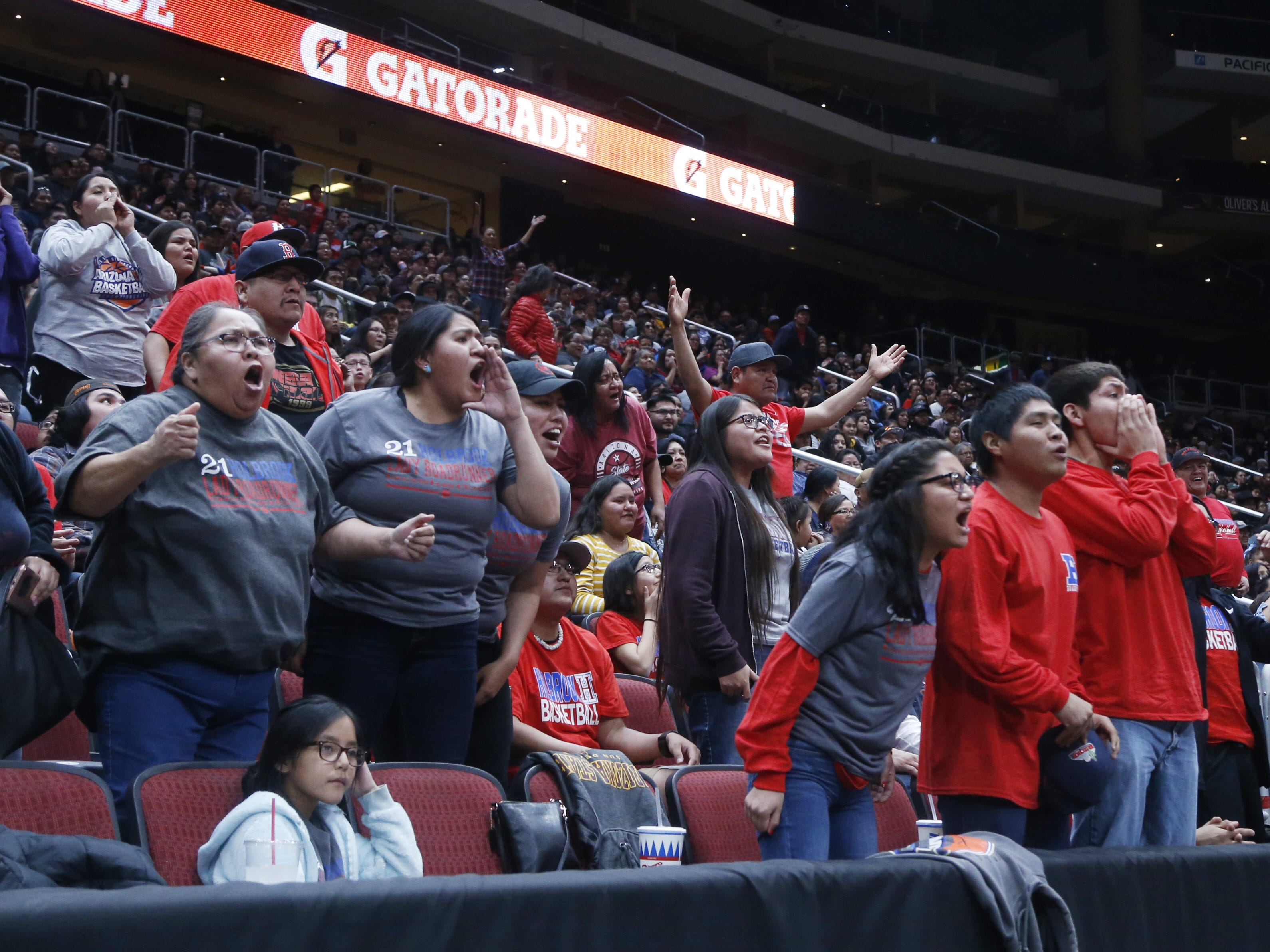 Holbrook fans react to a call during the first half of the 3A girls basketball state championship at Gila River Arena in Glendale, Ariz. on February 23, 2019.