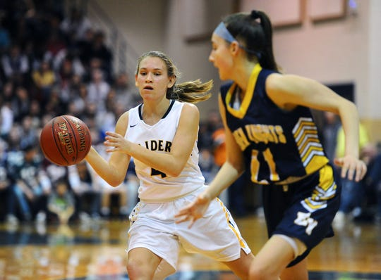 Julia Nelson (41) of Elco makes a pass around Eastern York's Sadie Buser (11) during the first half of Friday's District 3 4A girls playoff game.