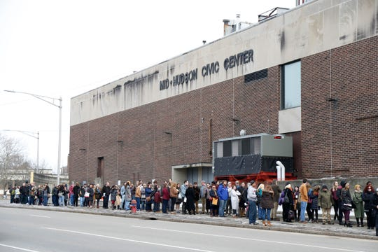 "A long line of candidates wrapping around the Majed J. Nesheiwat Convention Center for Saturday's open casting call for an HBO series staring Mark Ruffalo, called ""I Know This Much is True"" in the City of Poughkeepsie on Feb 23, 2019."