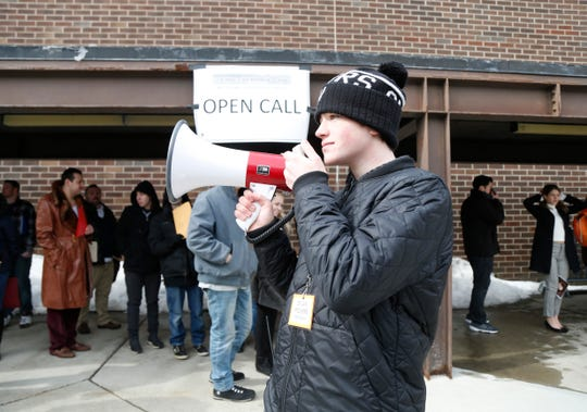 "Dylan Powers from Rita Powers Casting makes announcements outside the Majed J. Nesheiwat Convention Center for Saturday's open casting call for an HBO series staring Mark Ruffalo, called ""I Know This Much is True"" in the City of Poughkeepsie on Feb 23, 2019."