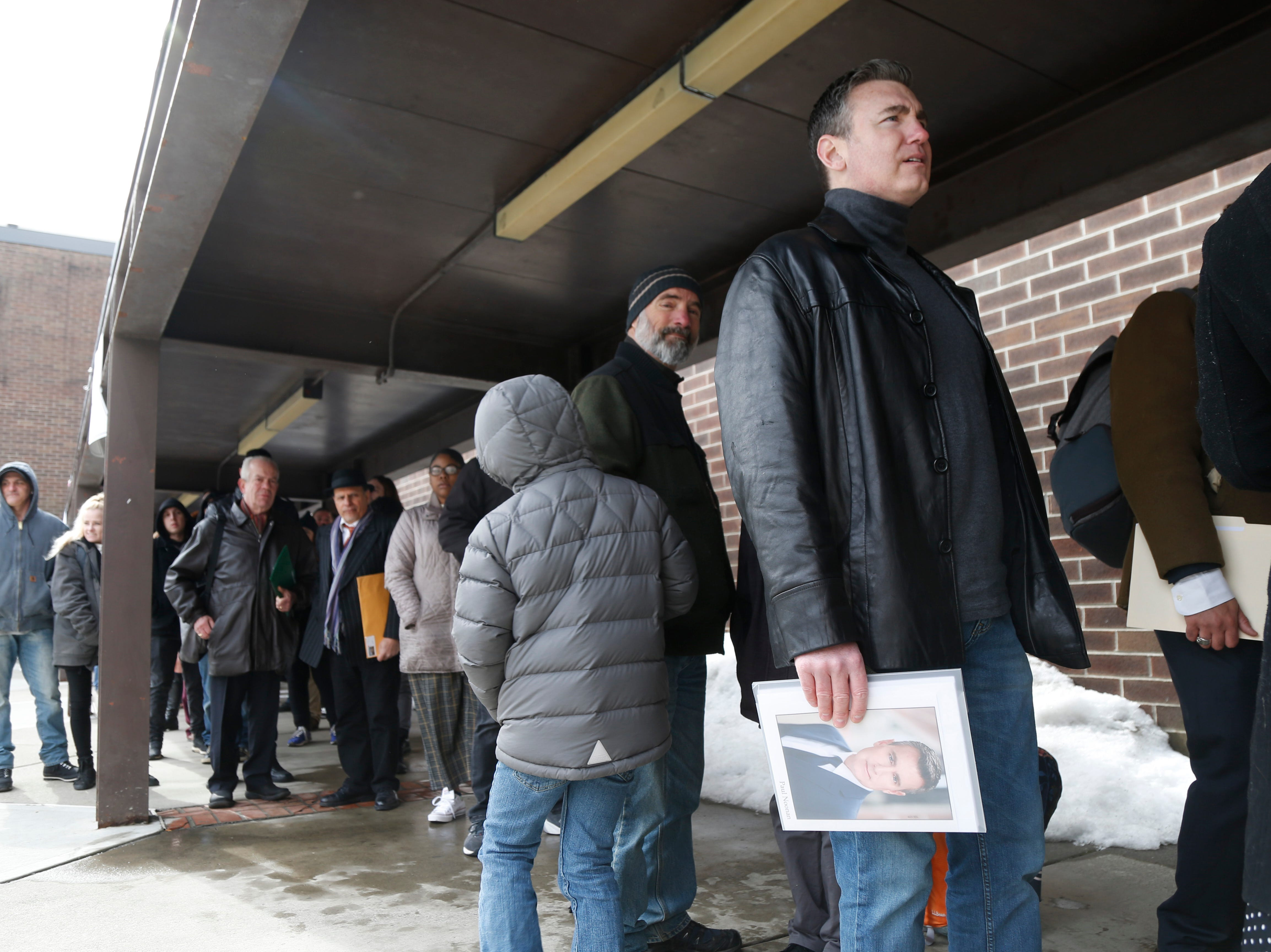 """Pal Noonan from Tiverton Rhode Island waits to enter the Majed J. Nesheiwat Convention Center for Saturday's open casting call for an HBO series staring Mark Ruffalo, called """"I Know This Much is True"""" in the City of Poughkeepsie on Feb 23, 2019."""