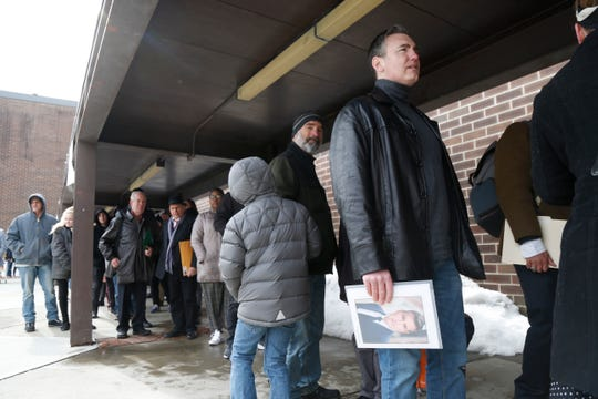 "Pal Noonan from Tiverton Rhode Island waits to enter the Majed J. Nesheiwat Convention Center for Saturday's open casting call for an HBO series staring Mark Ruffalo, called ""I Know This Much is True"" in the City of Poughkeepsie on Feb 23, 2019."
