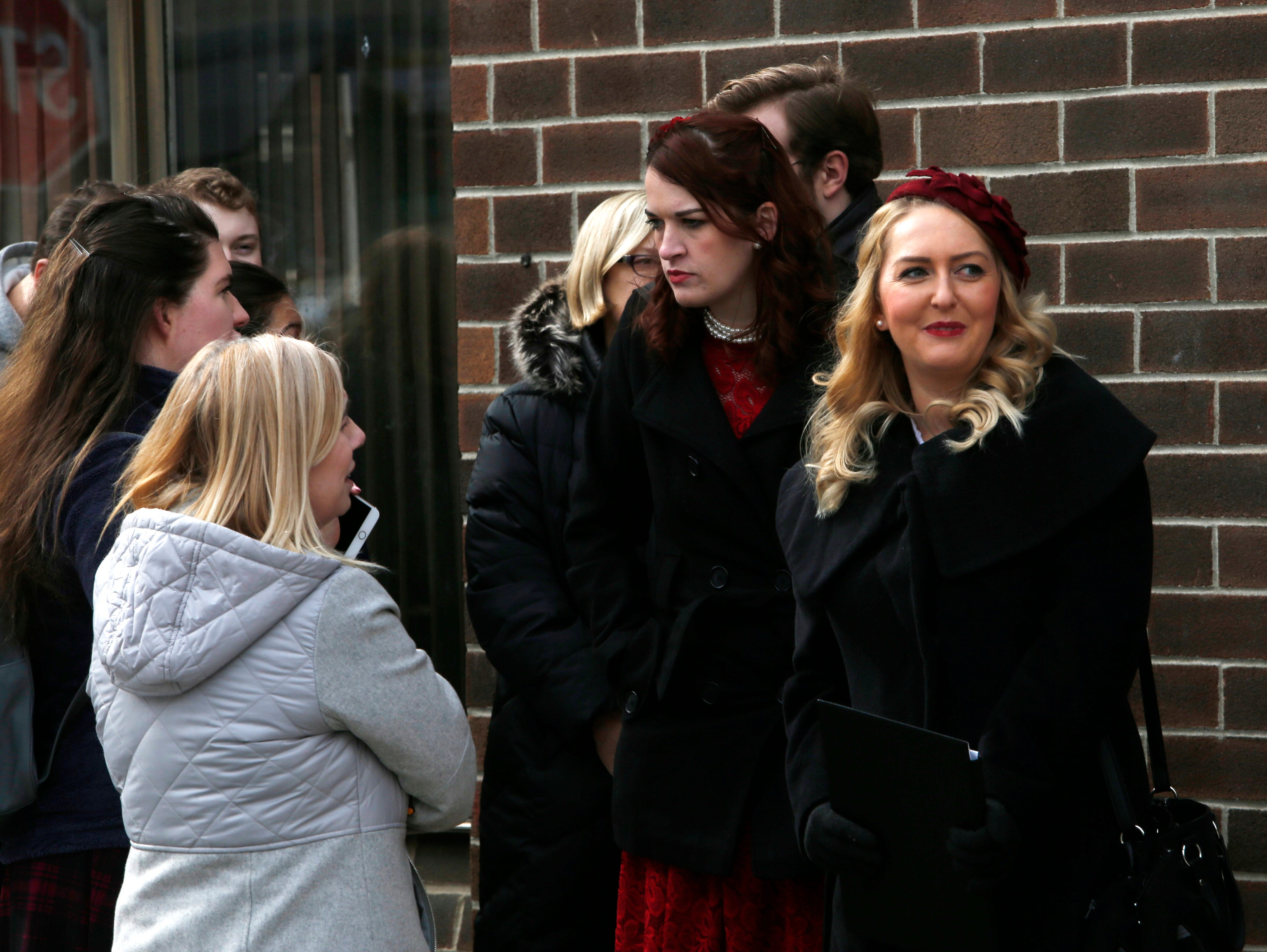 """At right, Mirela Ajdimouski of Buffalo waits to enter the Majed J. Nesheiwat Convention Center for Saturday's open casting call for an HBO series staring Mark Ruffalo, called """"I Know This Much is True"""" in the City of Poughkeepsie on Feb 23, 2019."""