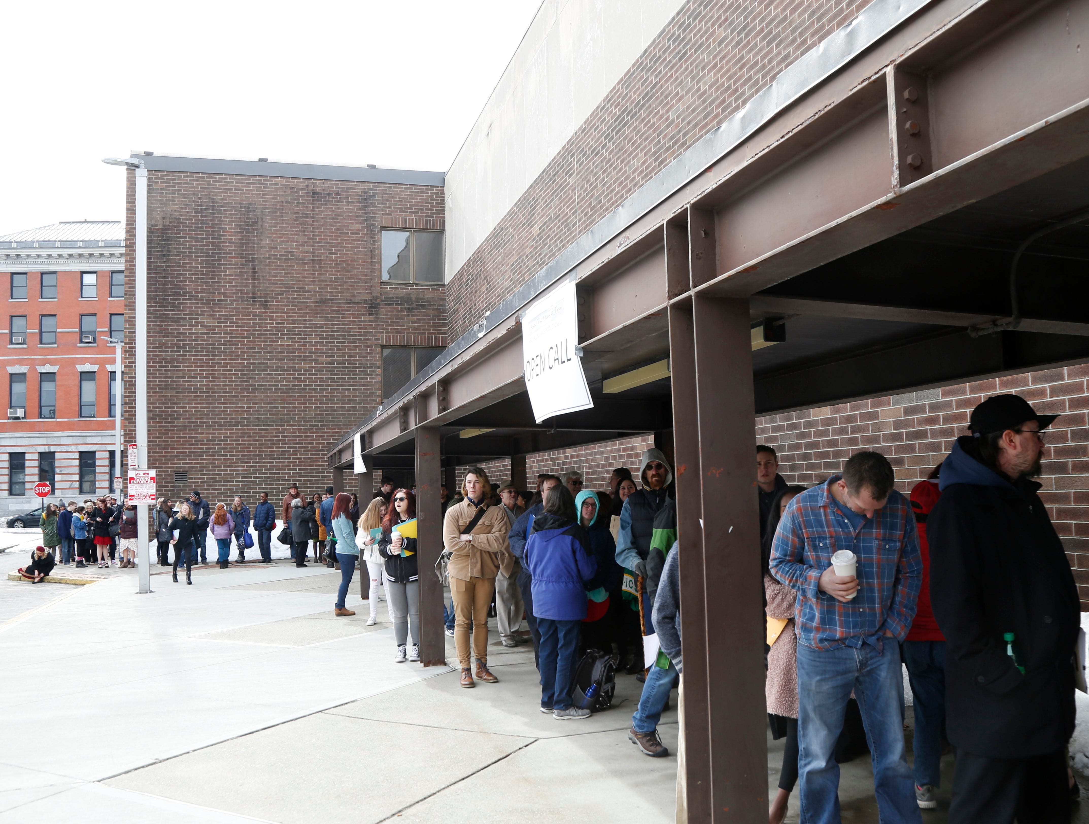 """A long line of candidates waits outside the Majed J. Nesheiwat Convention Center for Saturday's open casting call for an HBO series staring Mark Ruffalo, called """"I Know This Much is True"""" in the City of Poughkeepsie on Feb 23, 2019."""