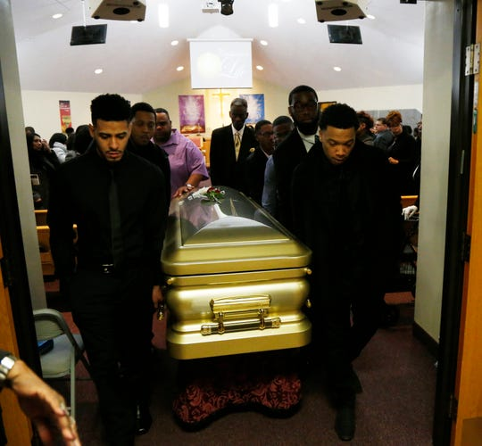 From left, Terrance Parson, Tyriece Stokes, George Cesar, Jordan Cesar, Stefan Anderson and Demair Garrett carry the casket of Jaquan Cesar following funeral services at Beulah Baptist Church in the City of Poughkeepsie on February 22, 2019. Jaquan died on Feb 11th while attempting to help a stranded motorist on the Cross Bronx Expressway.