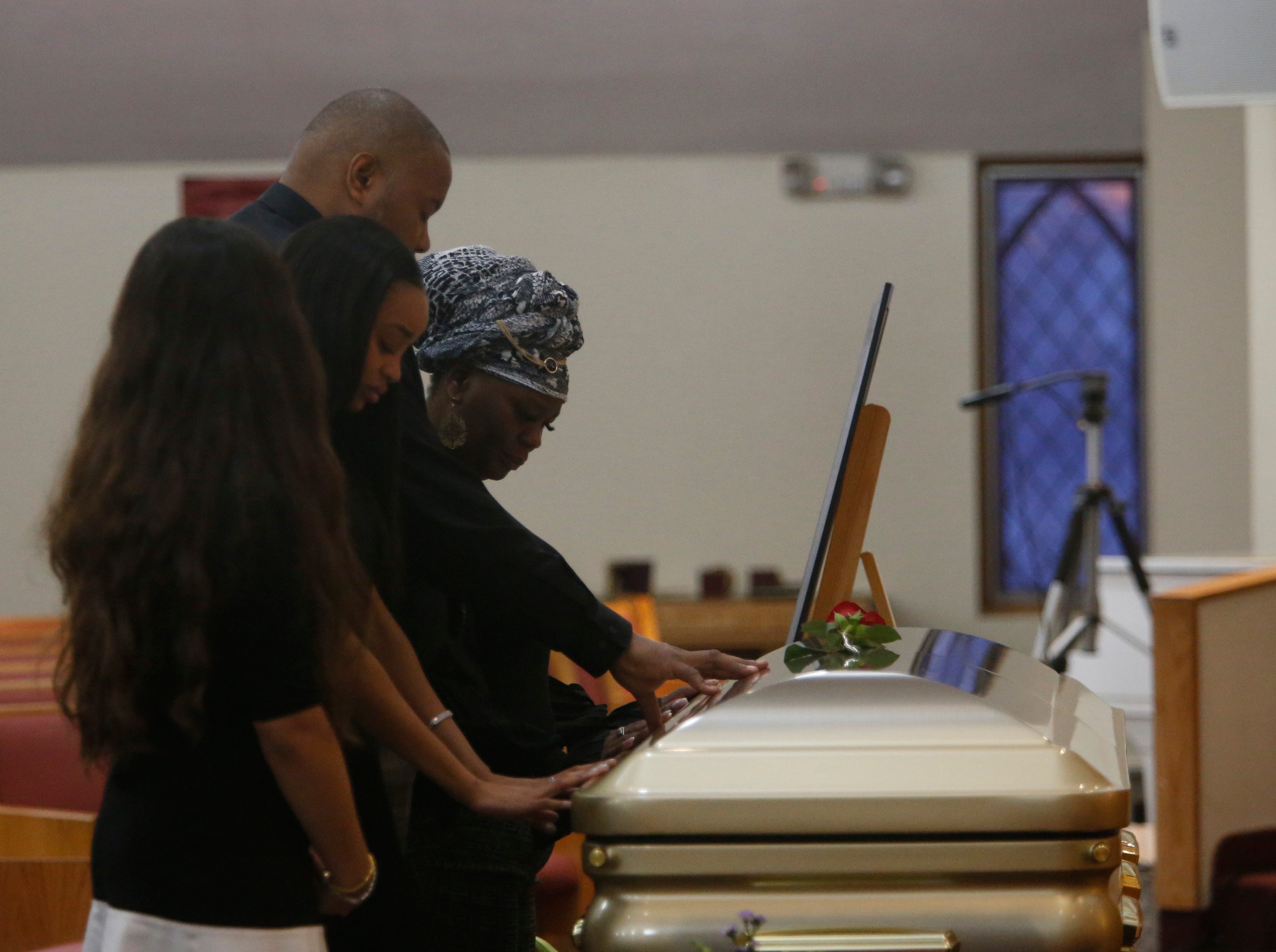 Friends & family mourn the loss of Jaquan Cesar during his funeral service at Beulah Baptist Church in the City of Poughkeepsie on February 22, 2019.
