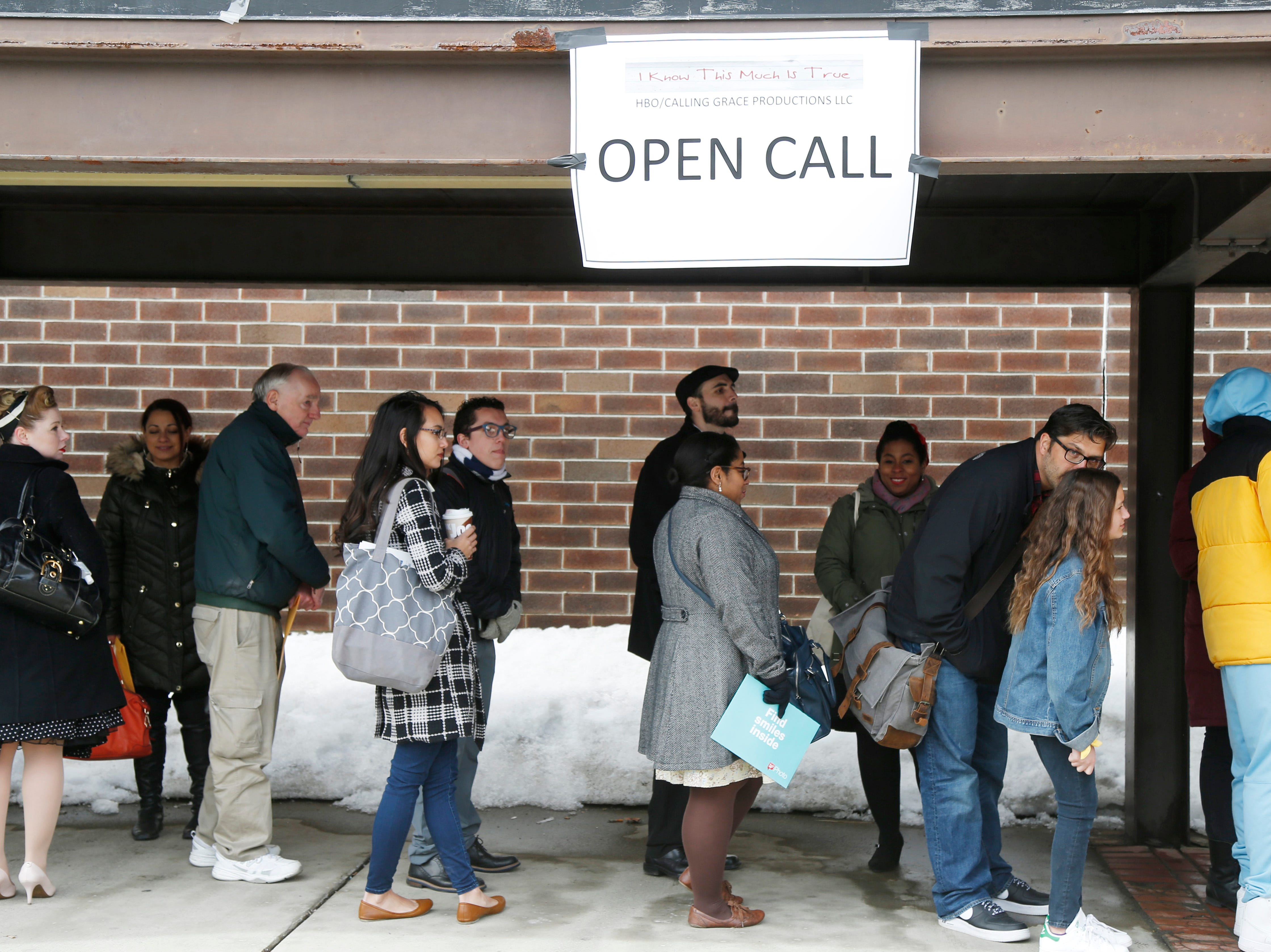 """A long line of candidates line up for Saturday's open casting call for an HBO series staring Mark Ruffalo, called """"I Know This Much is True"""" at the Majed J. Nesheiwat Convention Center in the City of Poughkeepsie on Feb 23, 2019."""