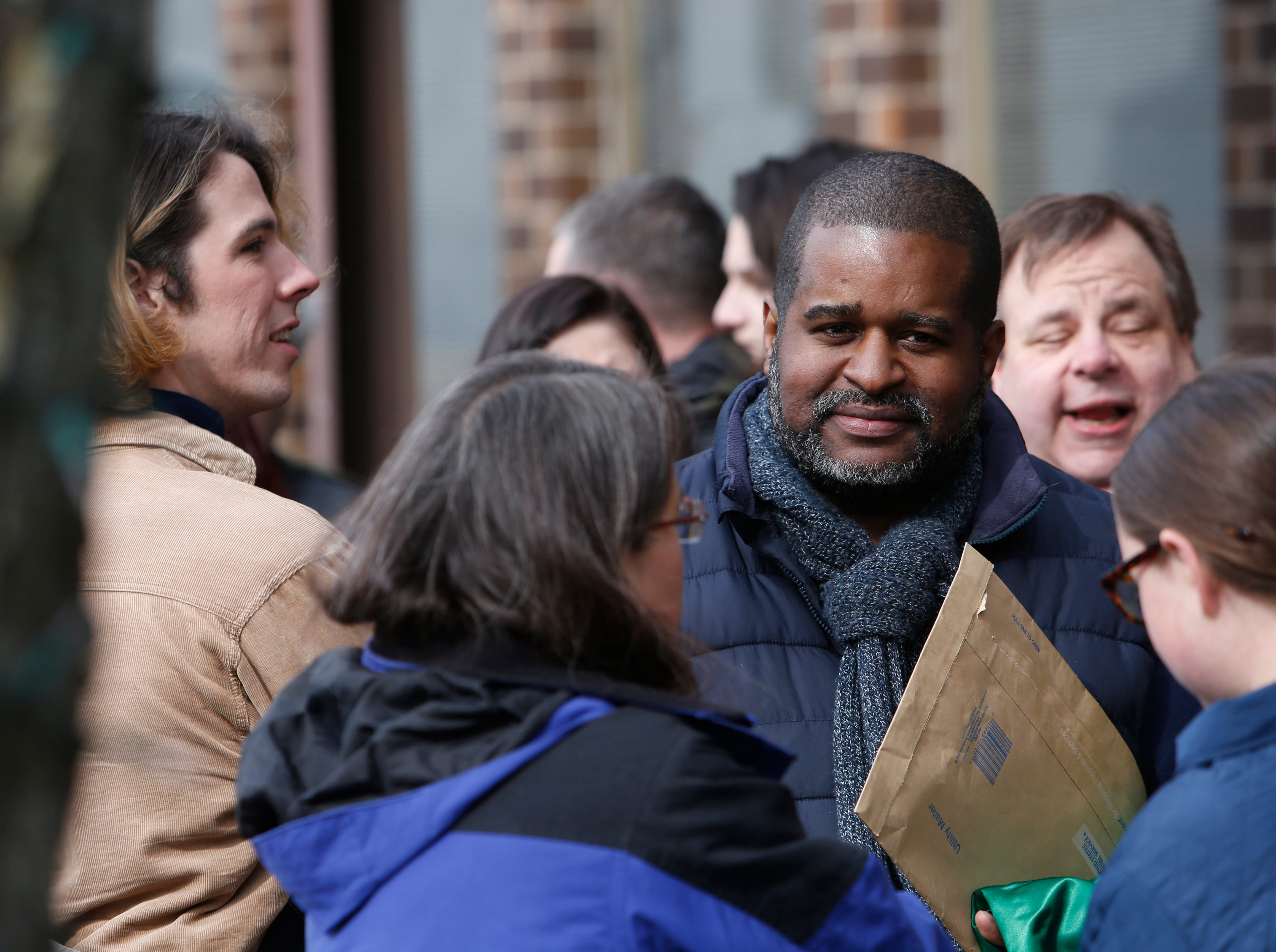 """Willis Williams of Rhinebeck on line for Saturday's open casting call for an HBO series staring Mark Ruffalo, called """"I Know This Much is True"""" at the Majed J. Nesheiwat Convention Center in the City of Poughkeepsie on Feb 23, 2019."""