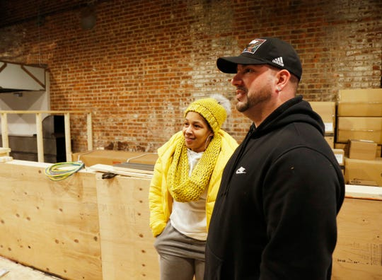 "Sondra and Bryan Conklin at the site of their booth,  ""Green House Salads"" in the Hudson Valley Food Hall in Beacon on February 20, 2019."