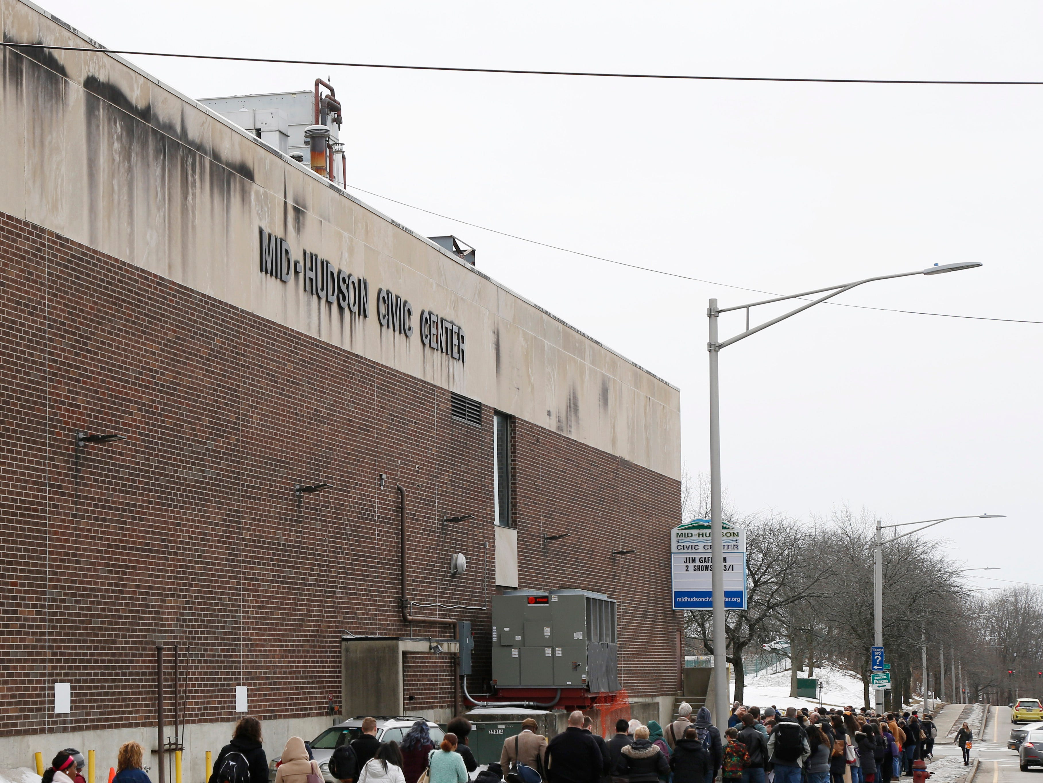 """A long line of candidates wrapping around the Majed J. Nesheiwat Convention Center for Saturday's open casting call for an HBO series staring Mark Ruffalo, called """"I Know This Much is True"""" in the City of Poughkeepsie on Feb 23, 2019."""