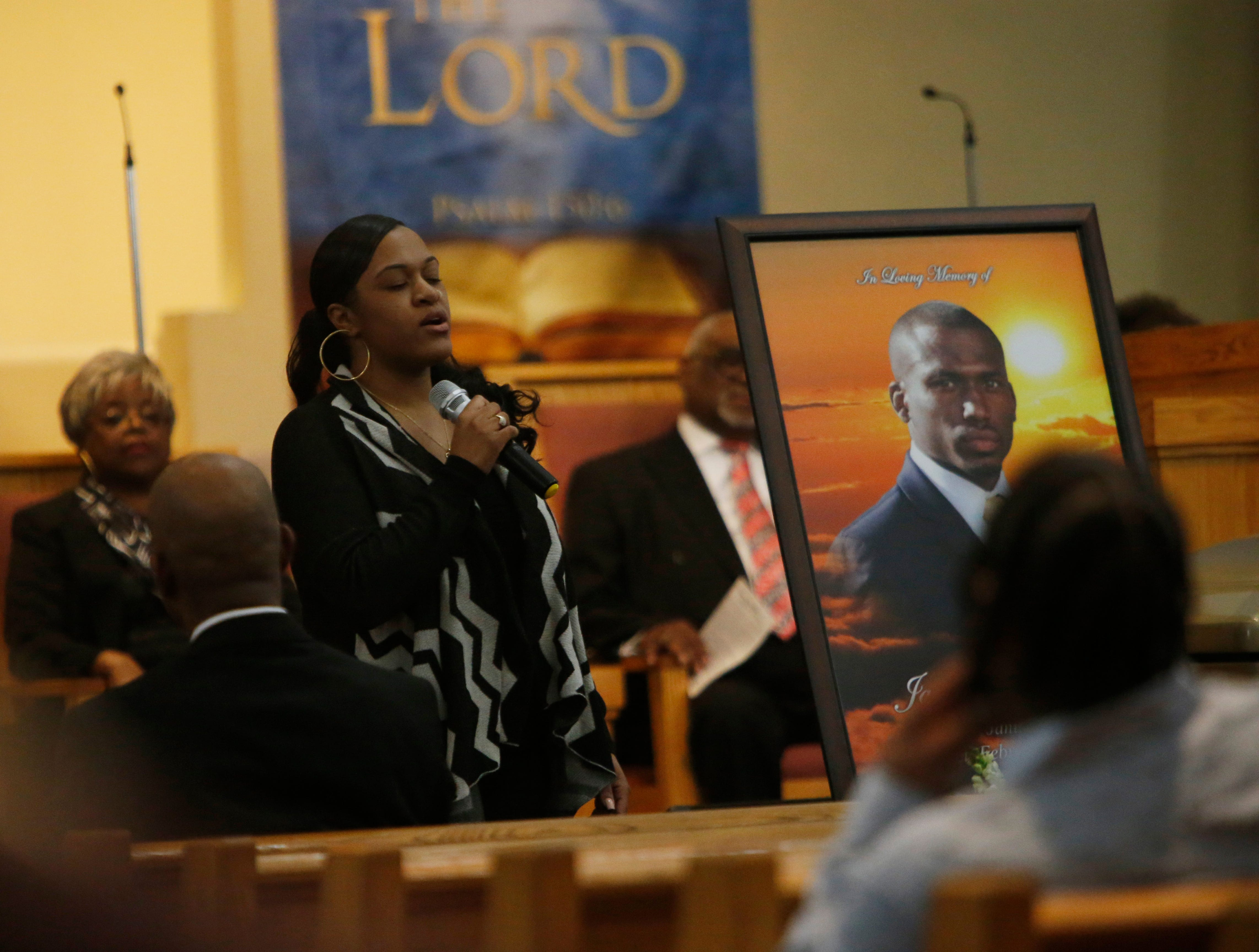 Tatyana Miller sings during Jaquan Cesar's funeral service at Beulah Baptist Church in the City of Poughkeepsie on February 22, 2019. Jaquan died on Feb 11th while attempting to help a stranded motorist on the Cross Bronx Expressway.