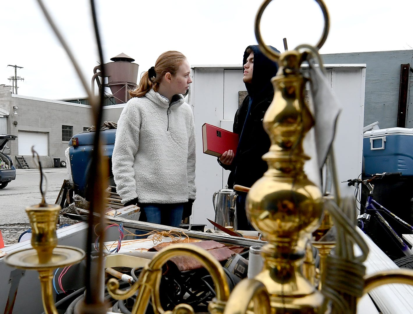 Central High School seniors Devon Russell, left, and Keith White search for items for her entry in the York County Solid Waste Authority Recycled Art Contest during Picker Day at the architectural salvage warehouse Refindings in York City Saturday, Feb. 23, 2019. The waste authority is sponsoring the fifth annual contest for York County high school students to promote recycling and celebrate Earth Day. Students create sculptures by mid-April from the materials donated by Refindings and the contest exhibit will be on display in the Marketview Arts Gallery, 37 W. Philadelphia St., beginning Sunday, April 14. Contest winners will be announced there during an awards event April 18. Bill Kalina photo