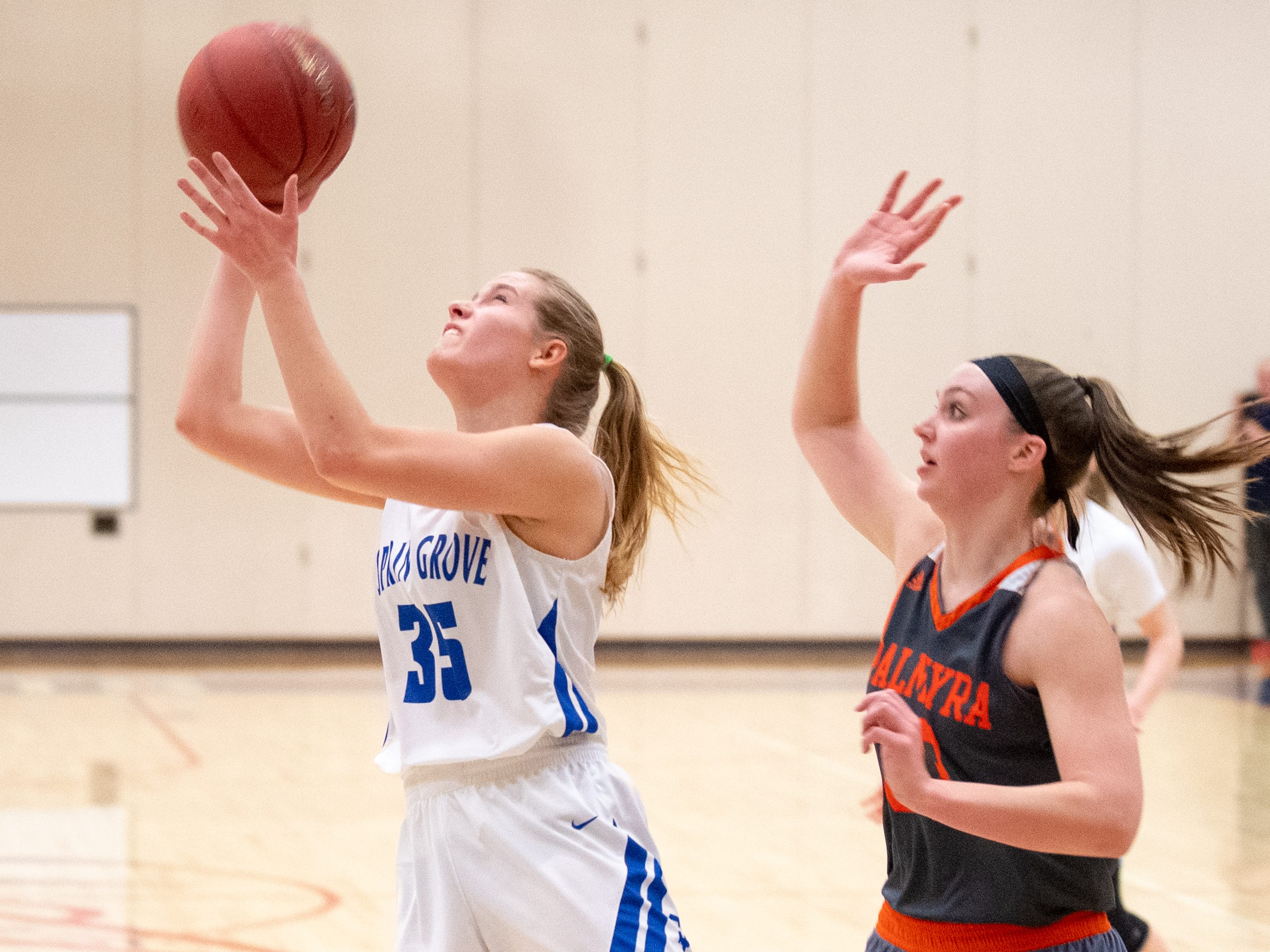 Brooklyn Naylor (35) takes the open layup during the District 3 Class 5A girls' basketball quarterfinal between Spring Grove and Palmyra, Friday, February 22, 2019 at Spring Grove Area High School. The Cougars defeated the Rockets 43 to 41.