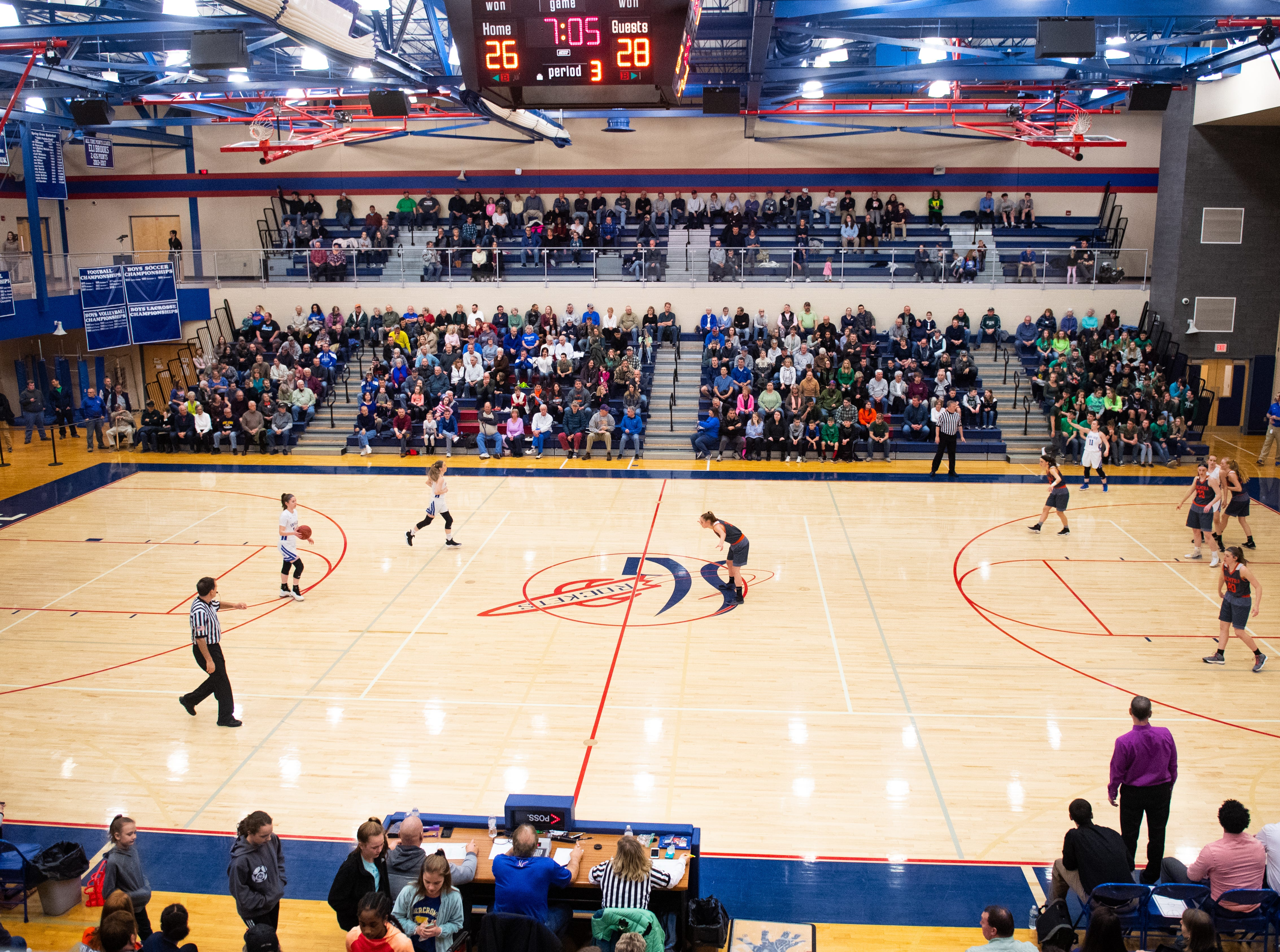 The gym is full during the District 3 Class 5A girls' basketball quarterfinal between Spring Grove and Palmyra, Friday, February 22, 2019 at Spring Grove Area High School. The Cougars defeated the Rockets 43 to 41.