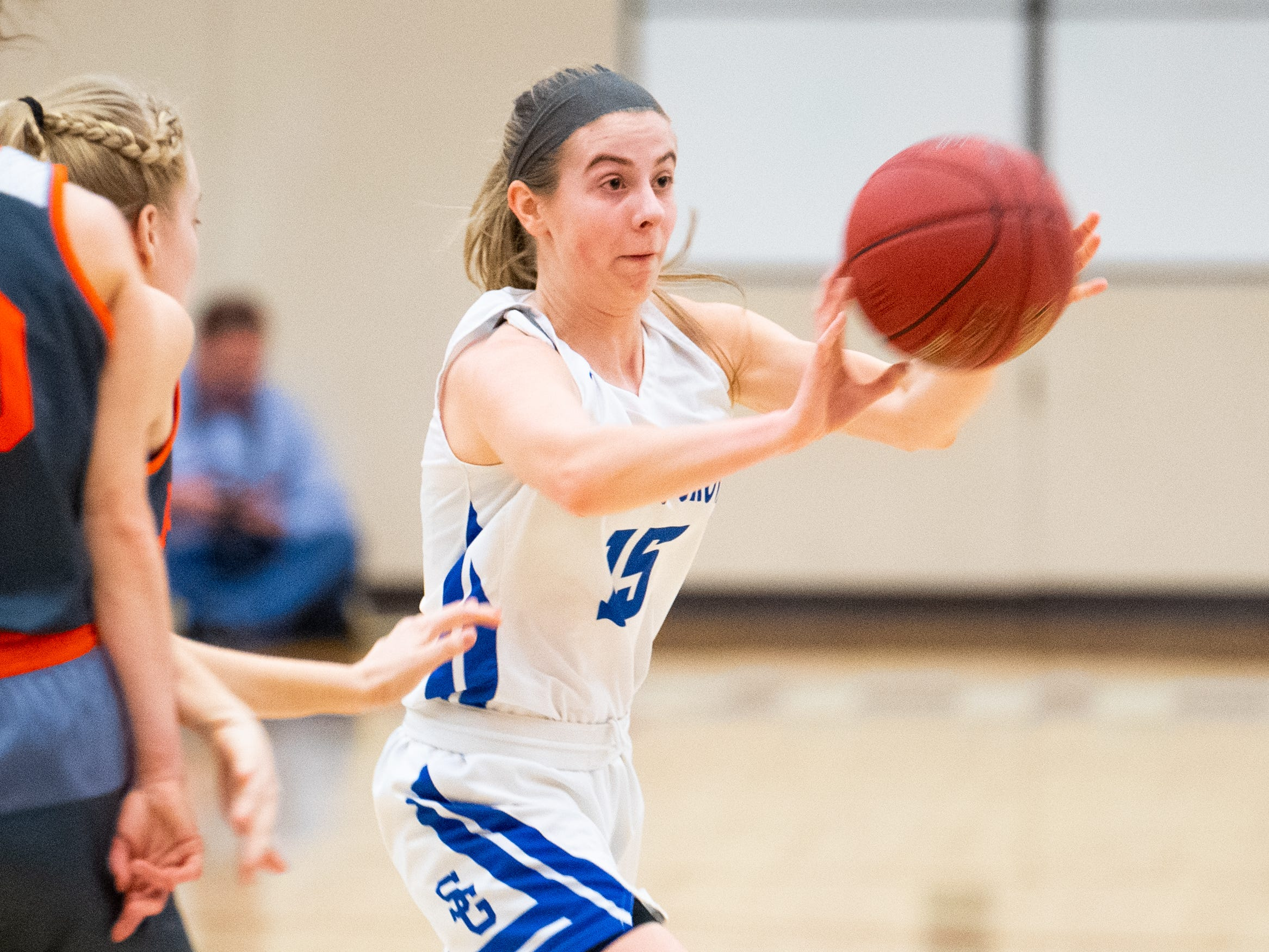 Lexi Hoffman (15) passes to a teammate during the District 3 Class 5A girls' basketball quarterfinal between Spring Grove and Palmyra, Friday, February 22, 2019 at Spring Grove Area High School. The Cougars defeated the Rockets 43 to 41.
