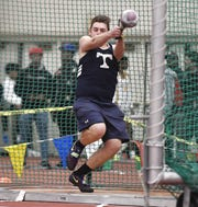 Webster Thomas' Sean Smith wins the boys weight throw with a distance of 66-00.75 feet during the Section V Winter Track & Field Meet of Champions held at RIT, Friday, Feb. 22, 2019.