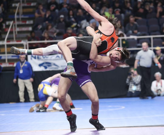 Letchworth's Chase Runfola wrestles in the 145-pound match of the quarterfinal round of NYSPHSAA wrestling championship at The Times Union Center in Albany on Friday, February 22, 2019.