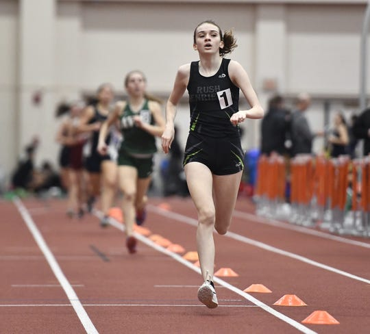 Rush-Henrietta's Haley Riorden wins the girls 1000 meter run during the Section V Winter Track & Field Meet of Champions held at RIT, Friday, Feb. 22, 2019.