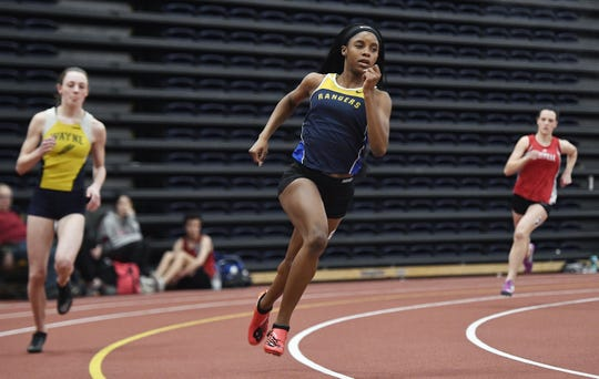 Spencerport's Vanessa Watson wins the girls 600 meter run with a time of 1:33.28 during the Section V Winter Track & Field Meet of Champions held at RIT, Friday, Feb. 22, 2019.