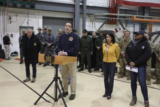 Gov. Andrew Cuomo discusses windstorm preparations on Saturday in Rochester. He was joined by Monroe County Executive Cheryl Dinolfo and Rochester Mayor Lovely Warren and (not pictured) Rep. Joe Morelle.