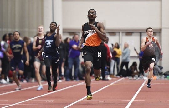 Churchville-Chili's Jaron Nesmith runs in a preliminary heat of the boys 300 meter dash during the Section V Winter Track & Field Meet of Champions held at RIT, Friday, Feb. 22, 2019.