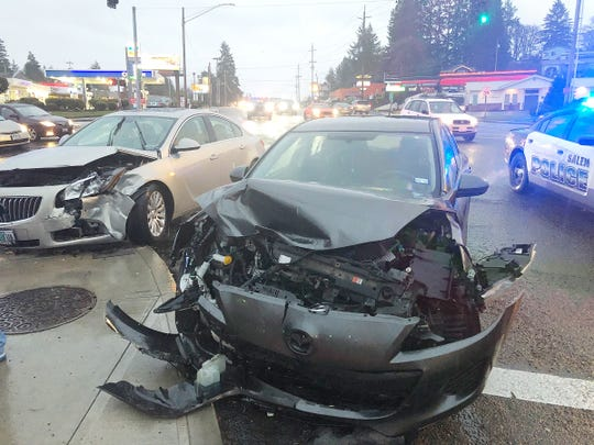 A crash at the intersection of Commercial Street SE and Madrona Avenue SE stalled traffic Friday in Salem.