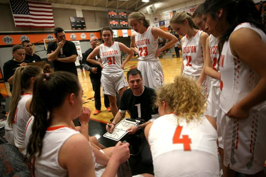 Silverton head coach Tal Wold goes over a play with his team during the Silverton vs Crescent Valley girls basketball game at Silverton High School on Friday, Feb. 22, 2019.
