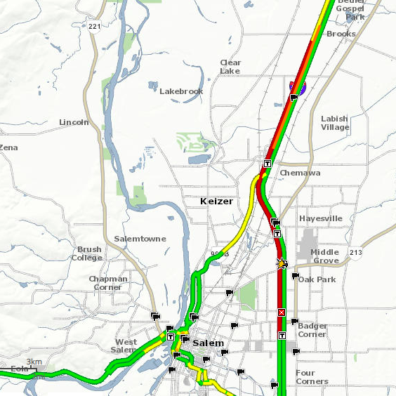 Fatal accident closes all lanes of southbound I-5 in North Salem