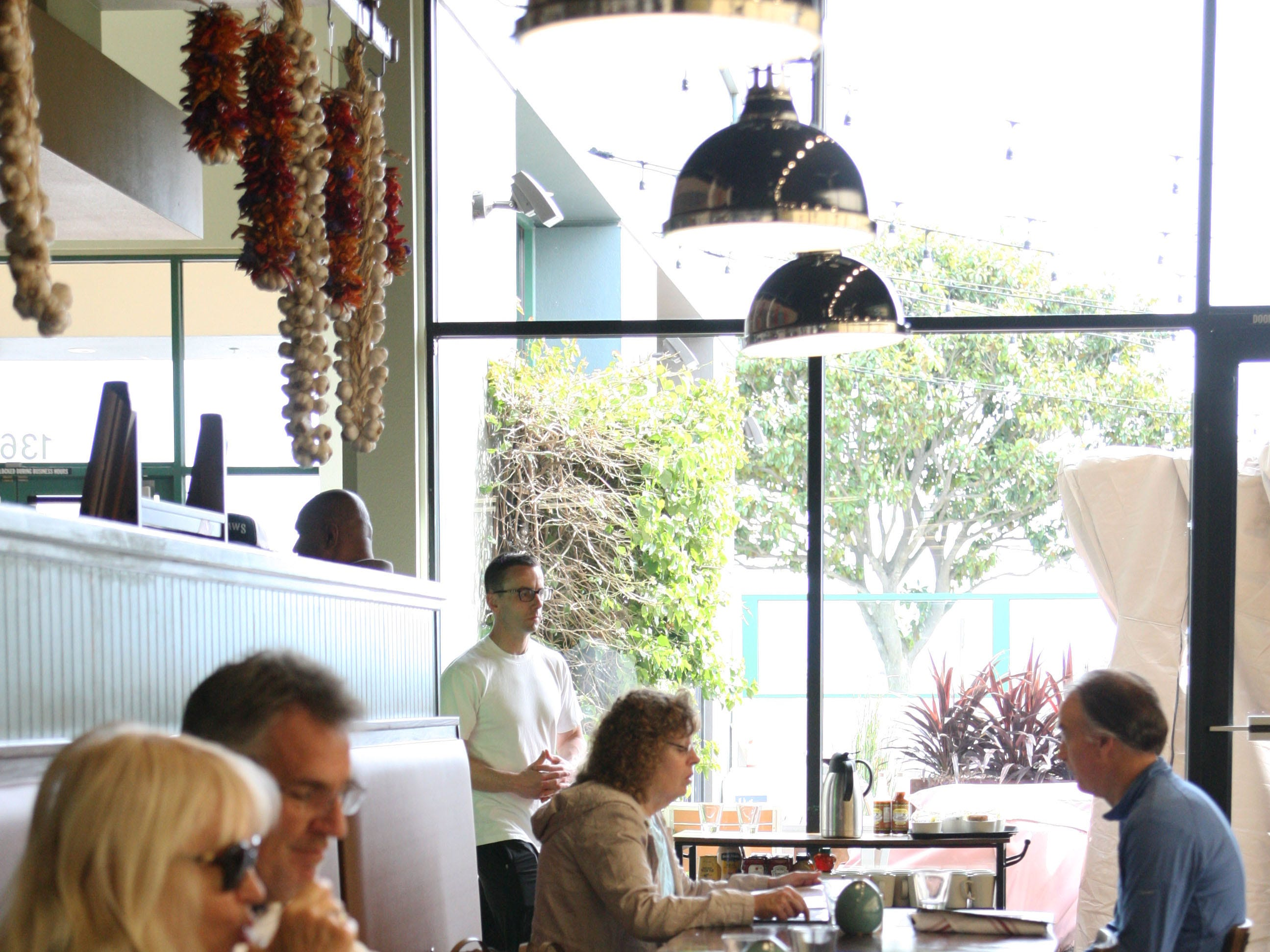 Patrons peruse the menu at Wild Thyme