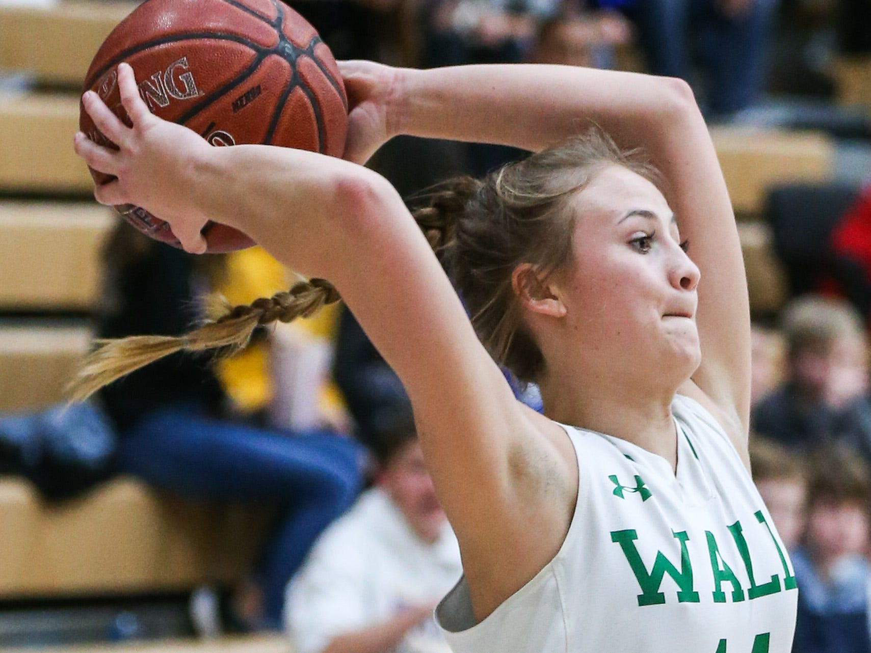 Wall's Payton Box passes the ball during the 1-3A regional tournament against Brock Friday, Feb. 22, 2019, at Wayland Baptist University in Plainview.